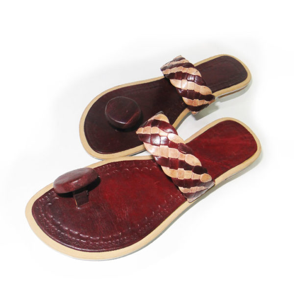 Brown African Leather Slippers
