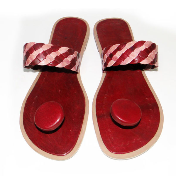 Burgundy African Leather Slippers