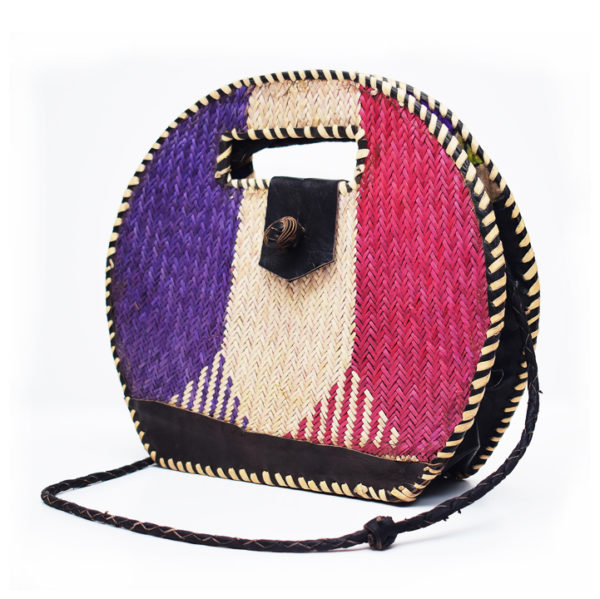 Blue & Red Round Rattan Bag