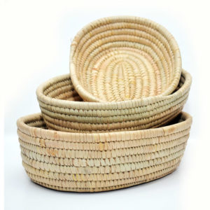 Handwoven Raffia Oval Bowl Set