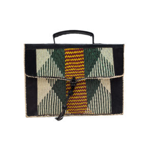Green Leather Laptop Bag with Raffia Pattern (1)