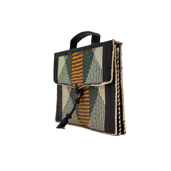 Green Leather Satchel Bag with Raffia Pattern (2)