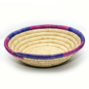 Handwoven raffia fruit bowl