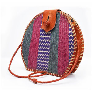 Multicolored Round Rattan Bag