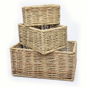 Rectangular Raffia Basket Set
