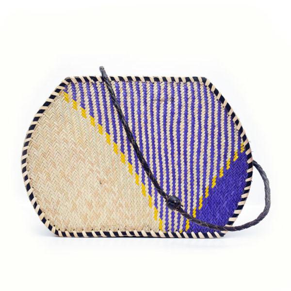 Blue Raffia Tote Bag