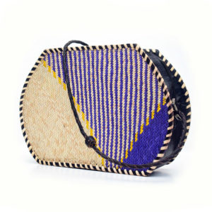 Blue Raffia Tote Purse