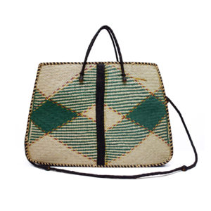 Green Raffia Tote Bag