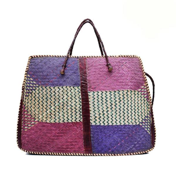Multi-coloured Raffia Tote Bag