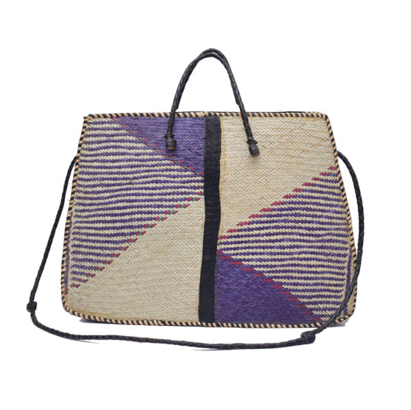 Purple Raffia Tote Bag front