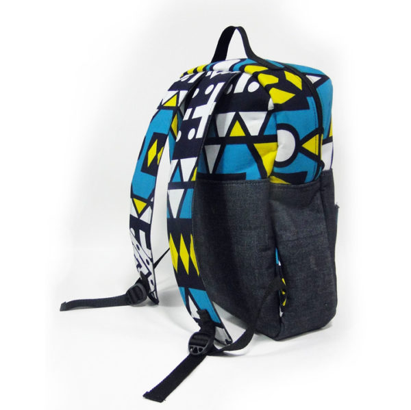 Turquoise Aztec Ankara with Jean Backpack