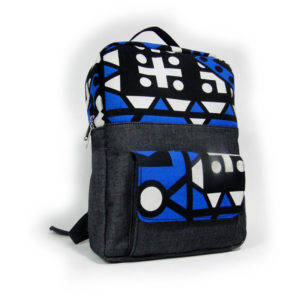 Blue Aztec Ankara with Jean Backpack