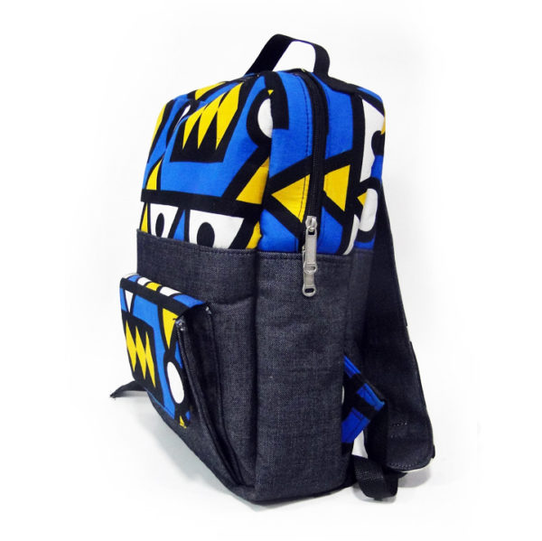 Blue & Yellow Aztec Ankara with Jean Backpack