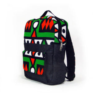 Green & Red Aztec Ankara with Jean Backpack
