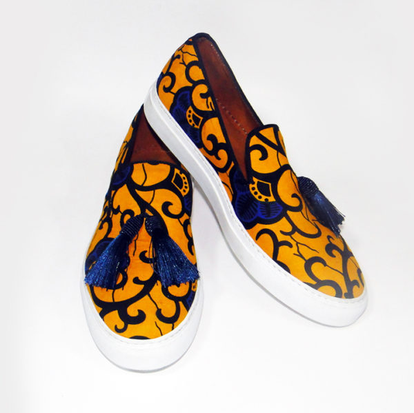 Men's Yellow Ankara Sneakers with Tassels