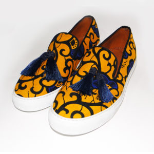 Men's Yellow Ankara Sneakers with Tassel