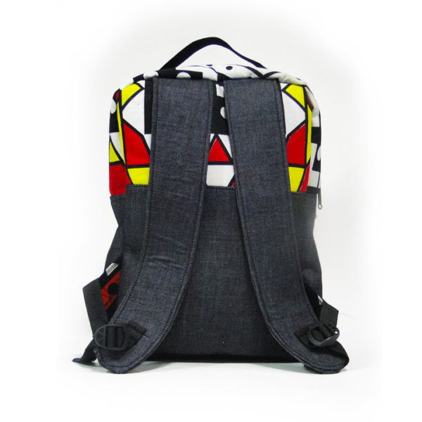 Red & Yellow Aztec Ankara with Jean Backpack