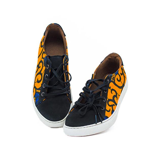 Ladies Lace-Up Ankara Sneakers