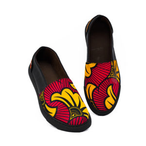 Ladies Red Ankara Sneakers