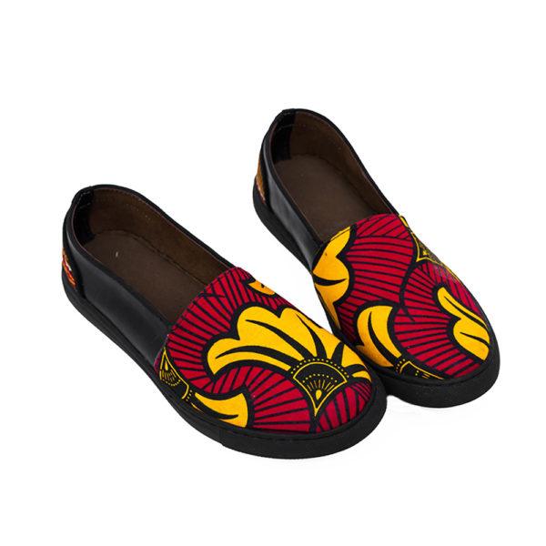 Ladies Red Ankara Sneakers