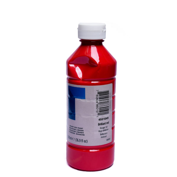 500ml Reeves Ready Mix Gouache Paint - Brilliant Red