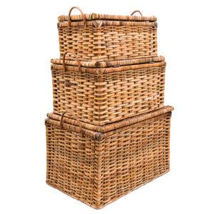 Handwoven Cane Storage Boxes