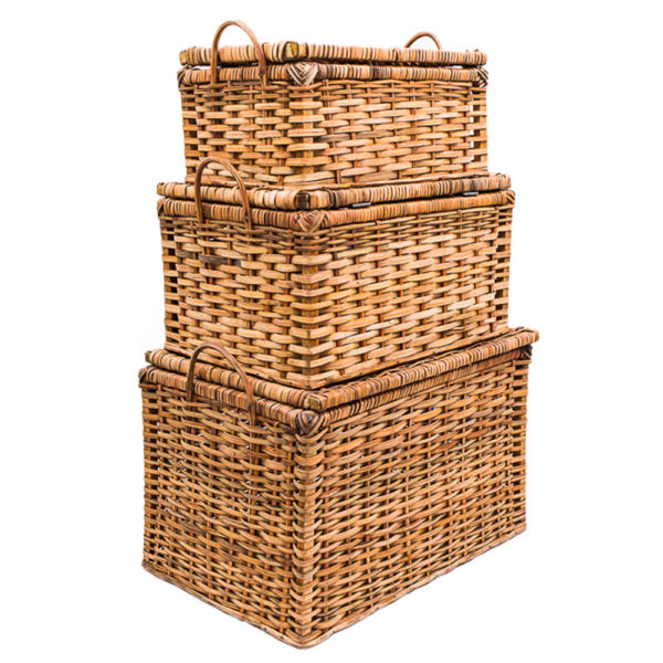 Handwoven Cane Storage Boxes
