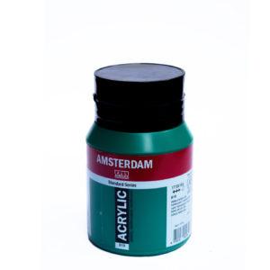500ml Amsterdam Acrylic Paint - Permanent Green Deep