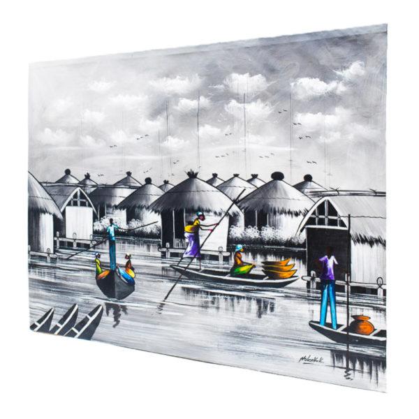 35x34' Waterside Scenery Acrylic Painting