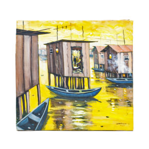 22x21' Makoko Waterfront Acrylic Painting