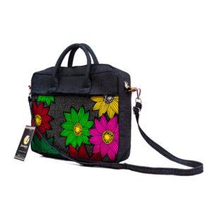 Floral Ankara & Jean Laptop Bag