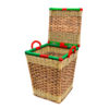 Mini Handwoven Cane Basket with Lid