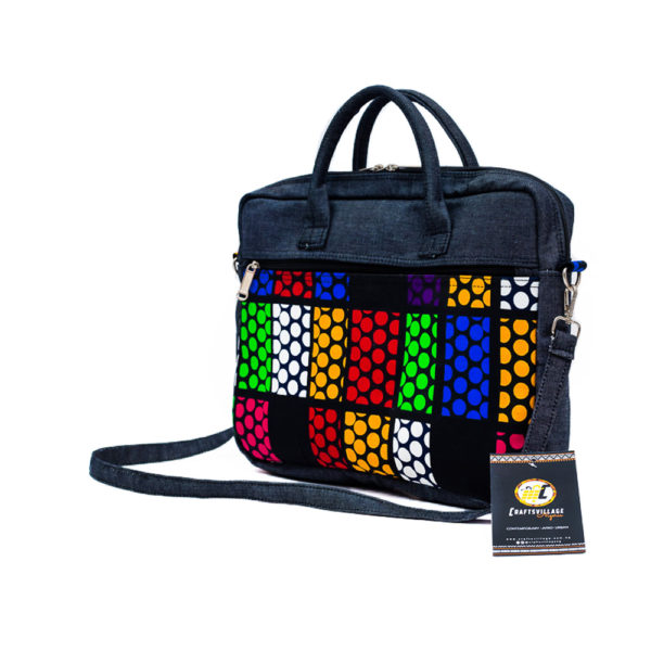 Polka Dots Ankara & Jean Laptop Bag