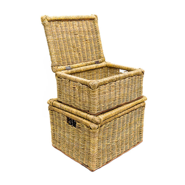 Handwoven Raffia Box Set with Lid