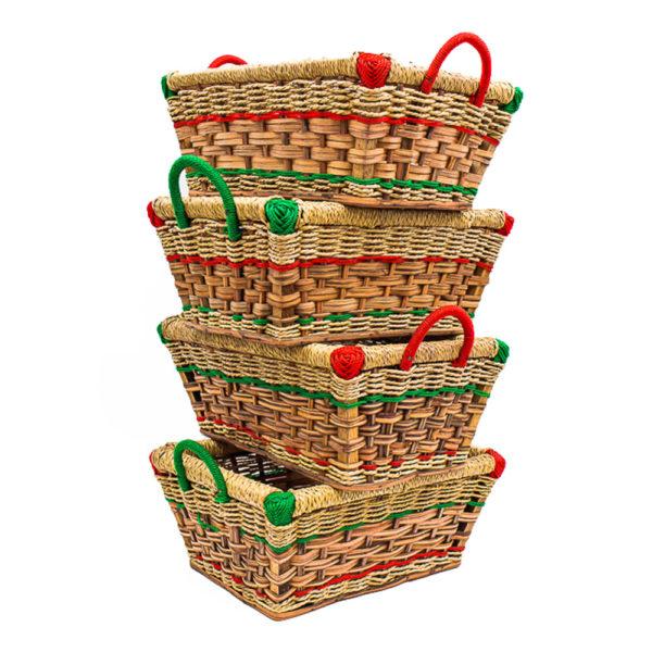 Handwoven Rectangular Cane Basket