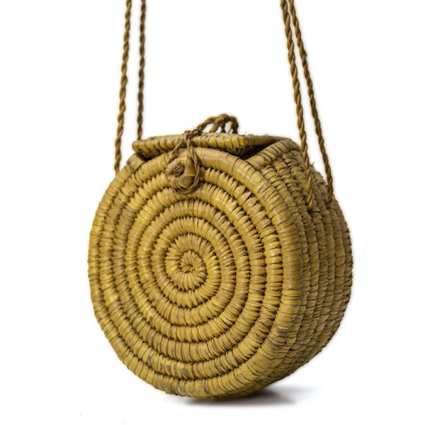 Gold Round Raffia Bag