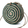 Spiral Green Round Raffia Bag
