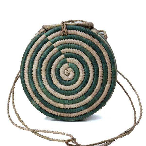 Spiral Green Round Raffia Bag
