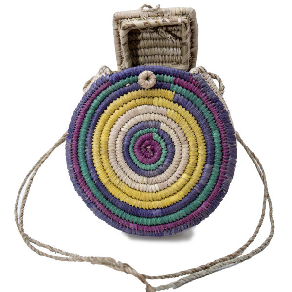 Multi Colour Round Raffia Bag