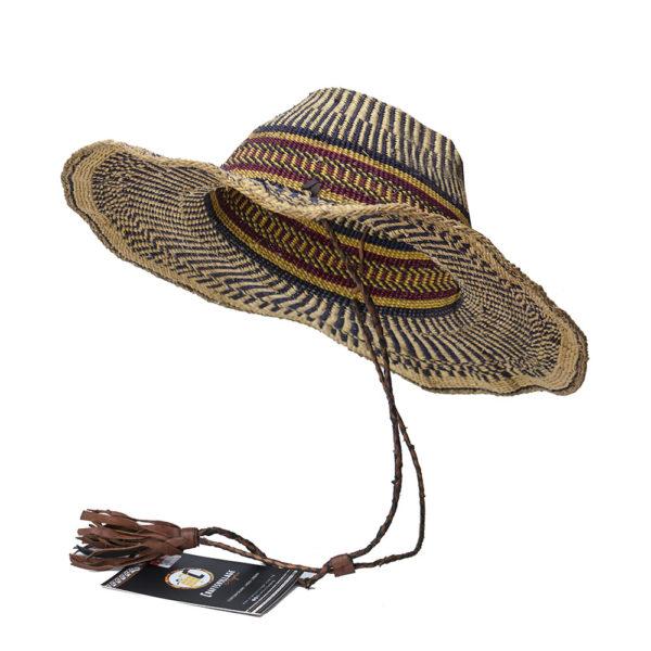 Blue Striped Raffia Hat