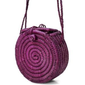 Purple Round Raffia Bag
