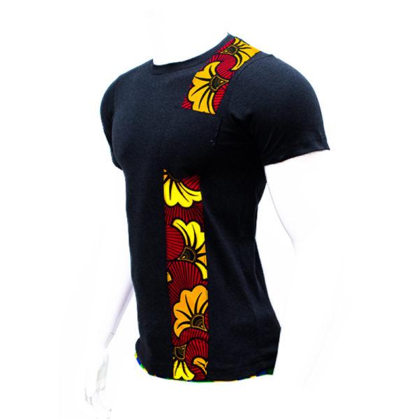Men's Floral Ankara Patch Shirt