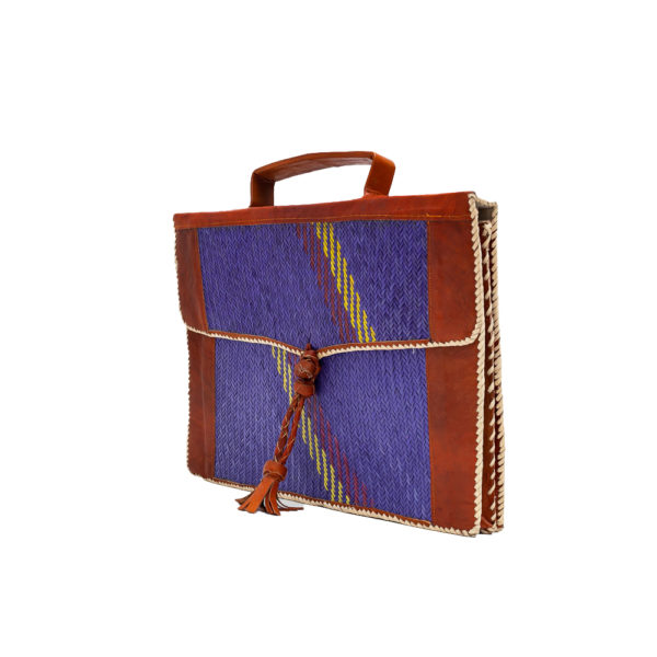 Brown & Blue Leather Satchel Bag with Raffia Pattern (1)
