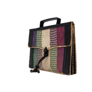 Men's Black Leather Satchel Bag with Raffia Pattern