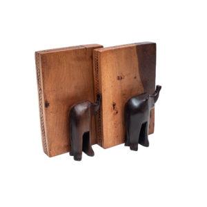 Wooden Elephant Sculpt Bookends
