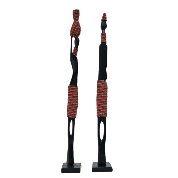 African Wooden Couple Figurines Set with Red Beads