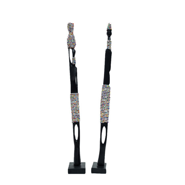 African Wooden Couple Figurines Set with White Beads