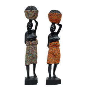 Decorative African Woman Figurine with Beads